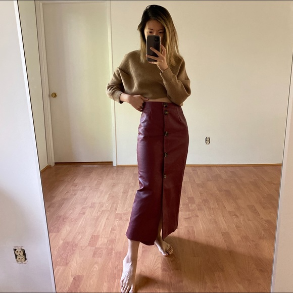 ASOS Dresses & Skirts - ASOS High Waisted Long Faux Leather Skirt